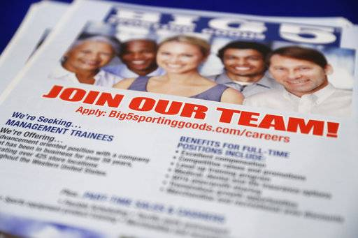 In this Thursday, Aug. 24, 2017, photo, a flyer advertises job openings with Big 5 Sporting Goods during a job fair in San Jose, Calif. On Thursday, Aug. 31, 2017, the Labor Department reports on the number of people who applied for unemployment benefits a week earlier. (AP Photo/Marcio Jose Sanchez)