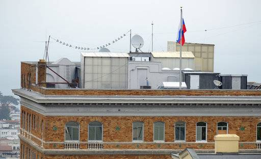 This Thursday, Aug. 10, 2017 photo shows the roof of the Consulate-General of Russia in San Francisco. The United States is retaliating against Russia by forcing closure of its consulate in San Francisco and scaling back its diplomatic presence in Washington and New York. The State Department says move is in response to the Kremlin forcing a cut in U.S. diplomatic staff in Moscow. (AP Photo/Eric Risberg)