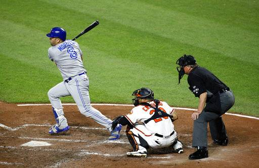 Toronto Blue Jays' Kendrys Morales, left, singles in front of Baltimore Orioles catcher Welington Castillo and home plate umpire Gerry Davis in the fifth inning of a baseball game in Baltimore, Thursday, Aug. 31, 2017. Ryan Goins scored on the play. (AP Photo/Patrick Semansky)