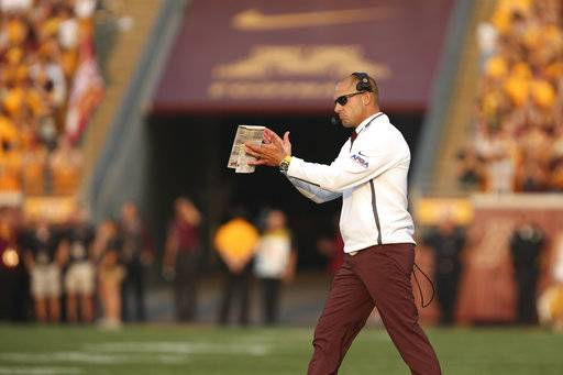 Minnesota head coach P.J. Fleck reacts during an NCAA college football game against Buffalo, Thursday, Aug. 31, 2017, in Minneapolis. (AP Photo/Stacy Bengs)