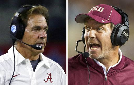 FILE - At left, in a Sept. 5, 2015, file photo, Alabama head coach Nick Saban gives directions from the sidelines during the first half of an NCAA college football game against Wisconsin, in Arlington, Texas. At right, in an Oct. 29, 2016, file photo, Florida State coach Jimbo Fisher shouts instructions during the team's NCAA college football game against Clemson in Tallahassee, Fla. No. 3 Florida State takes on No. 1 Alabama on Saturday, Sept. 2, 2017, in Atlanta. (AP Photo/File)