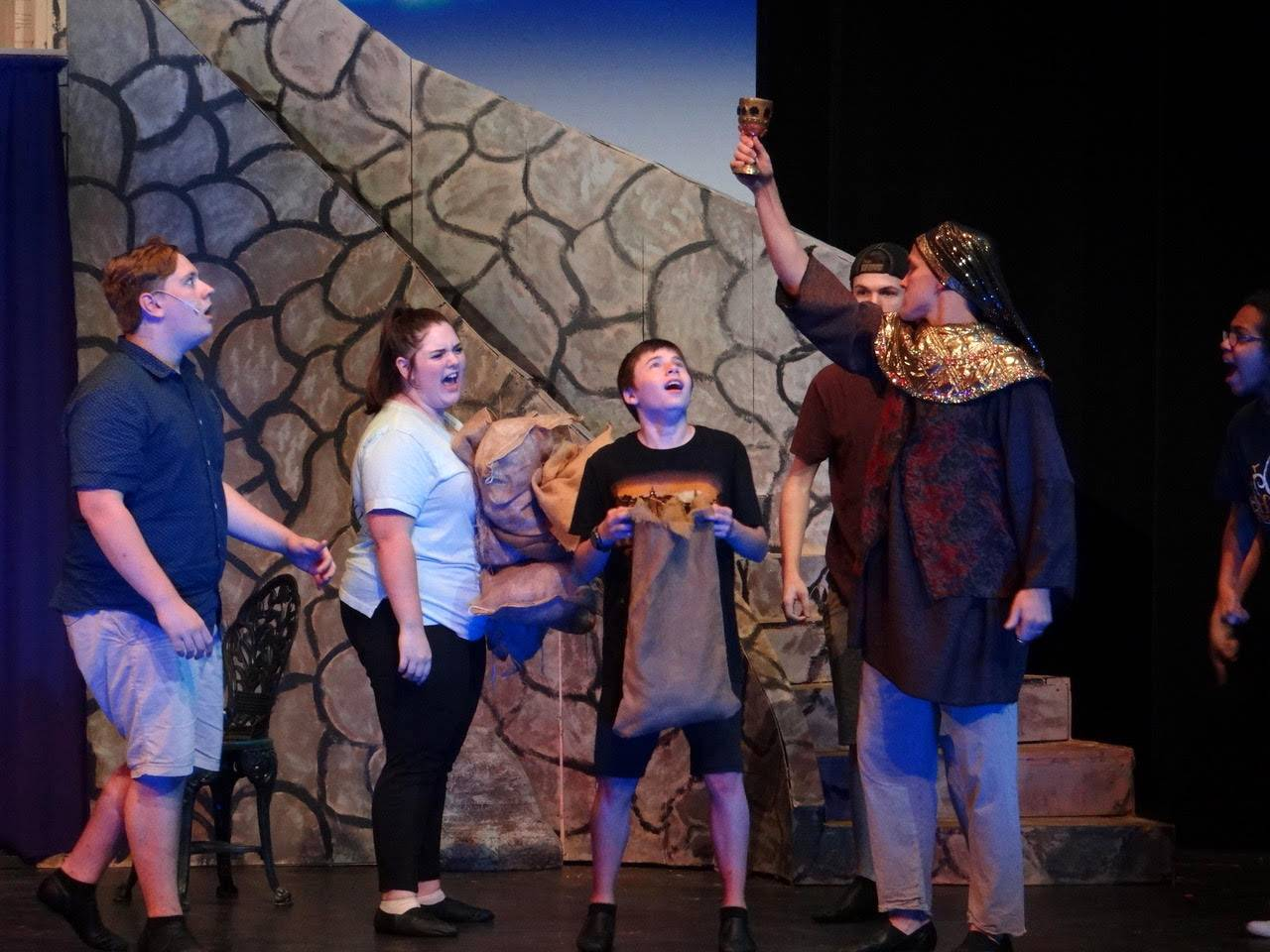 "From left, Dominic Frugoli, Maddie Frugoli, John Arnold (Benjamin), Adrian Briones and Chase Nelson (Joseph) during a rehearsal of the Fox Valley Theatre Company production of ""Joseph and the Amazing Technicolor Dreamcoat,"" which opens Sept. 8."