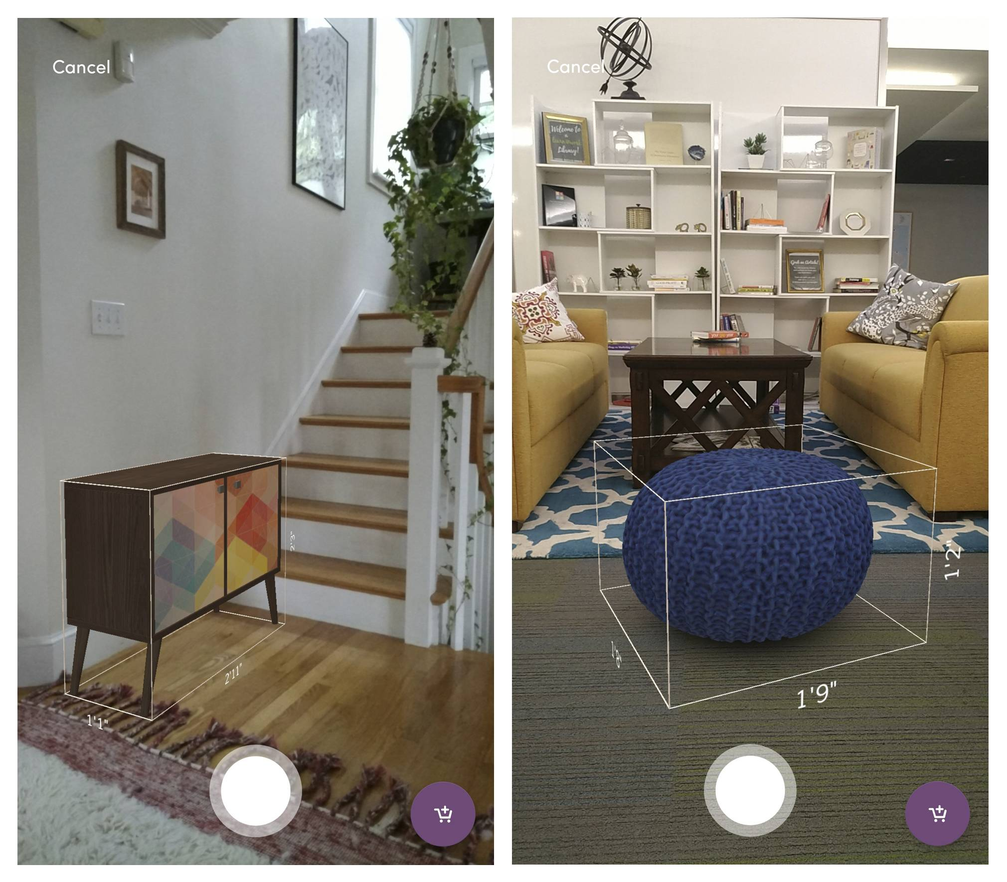 This photo provided by Wayfair shows screenshots demonstrating WayfairView for Tango-enabled Android phones, allowing a user to superimpose virtual images over real-life settings. The app allows shoppers to see how furniture will look in their living room or other space before buying it.