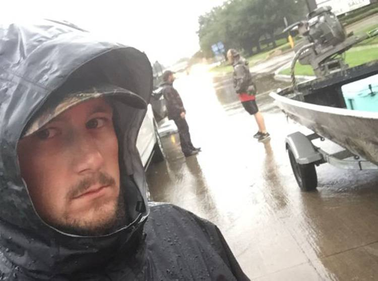 "Jordy Bloodsworth, a member of the volunteer group known as the ""Cajun Navy,"" raced to Texas from Louisiana to help flood victims."