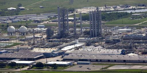 The Goodyear Chemical Plant is shown in this aerial view Friday, Sept. 1, 2017, in Beaumont, Texas. (AP Photo/David J. Phillip)