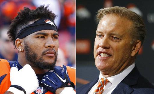 "FILE - These are 2016 file photos showing Denver Broncos' T.J. Ward, left, and John Elway. The Denver Broncos have broken up the ""No Fly Zone,"" releasing three-time Pro Bowl strong safety T.J. Ward with a year left on his contract. General manager John Elway said cutting the eighth-year pro was a difficult decision ""after everything he's done for our football team."" (AP Photo/File)"