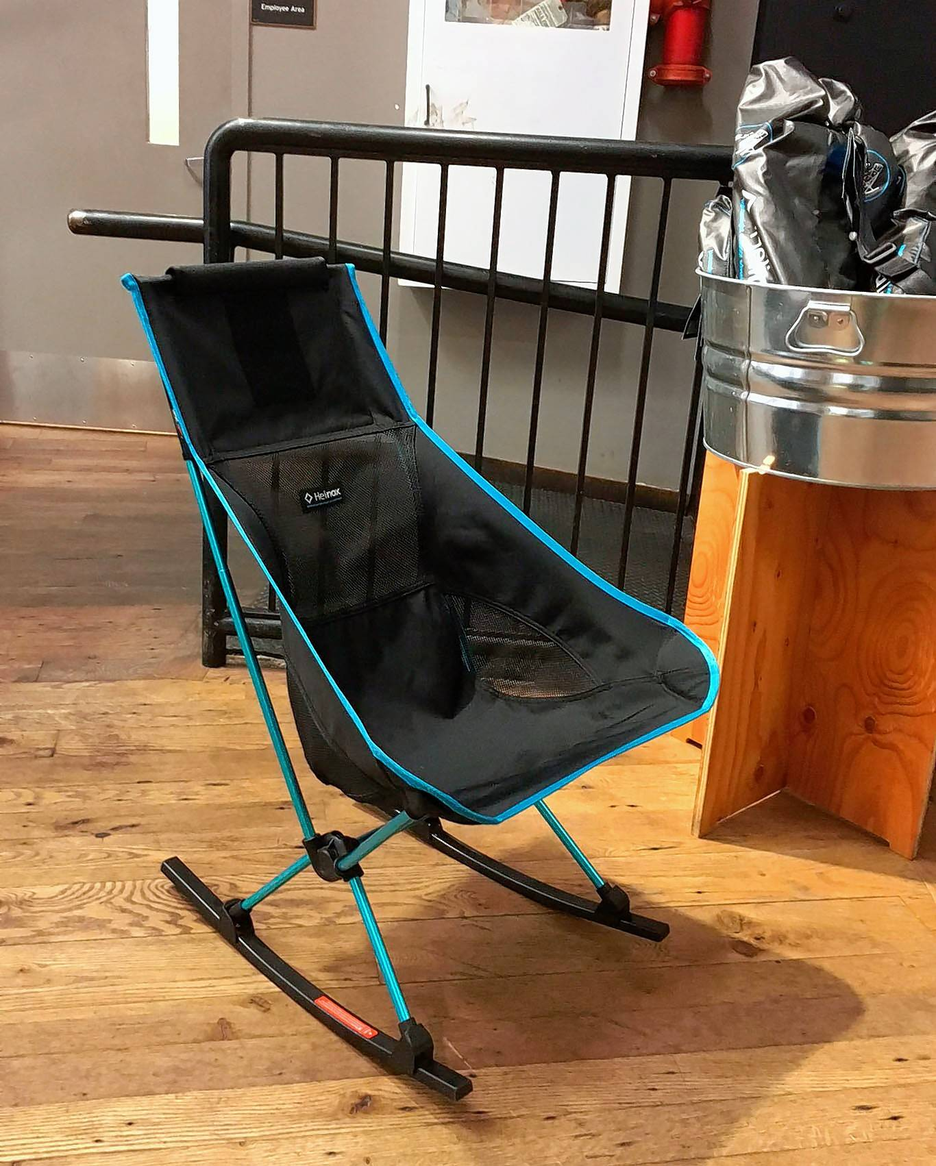 This rocking chair, made by Helinox, is designed for camping but looks nice enough that it can also be used as indoor furniture.
