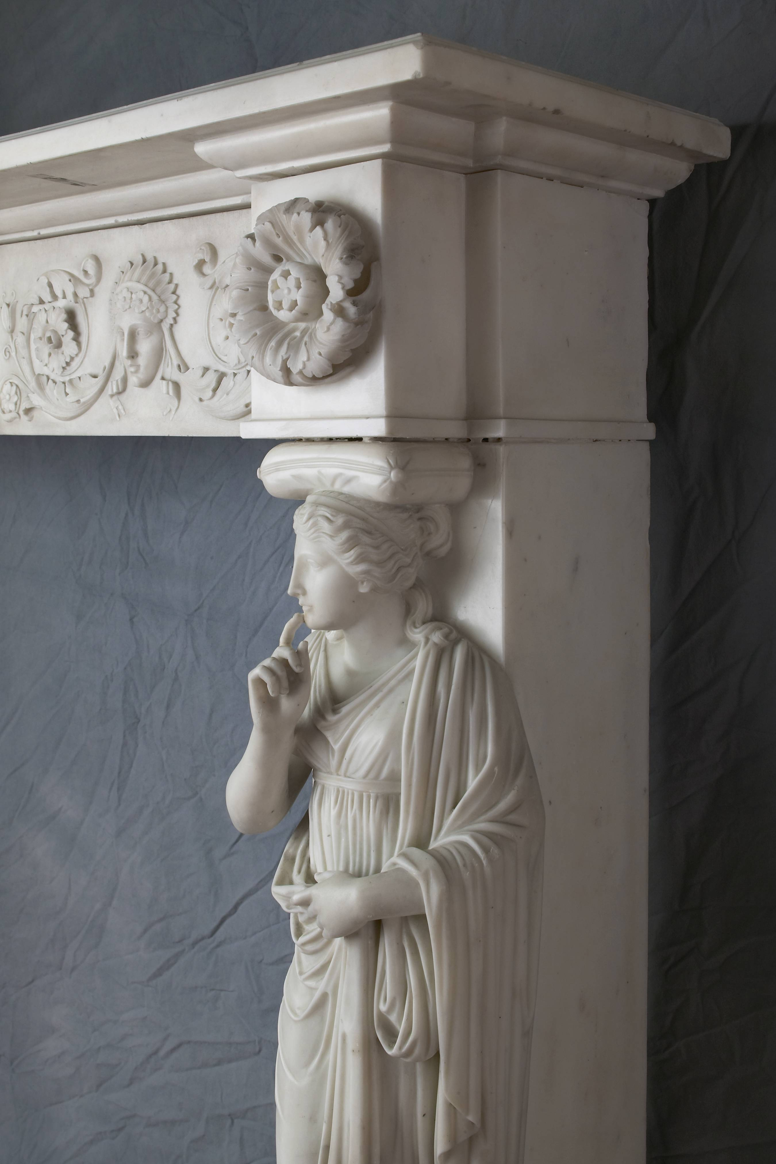 A caryatid on an 1805 marble mantelpiece. When Pribell spotted a dust-covered mantelpiece in the basement of a client's newly purchased home, it was the start of a long relationship.