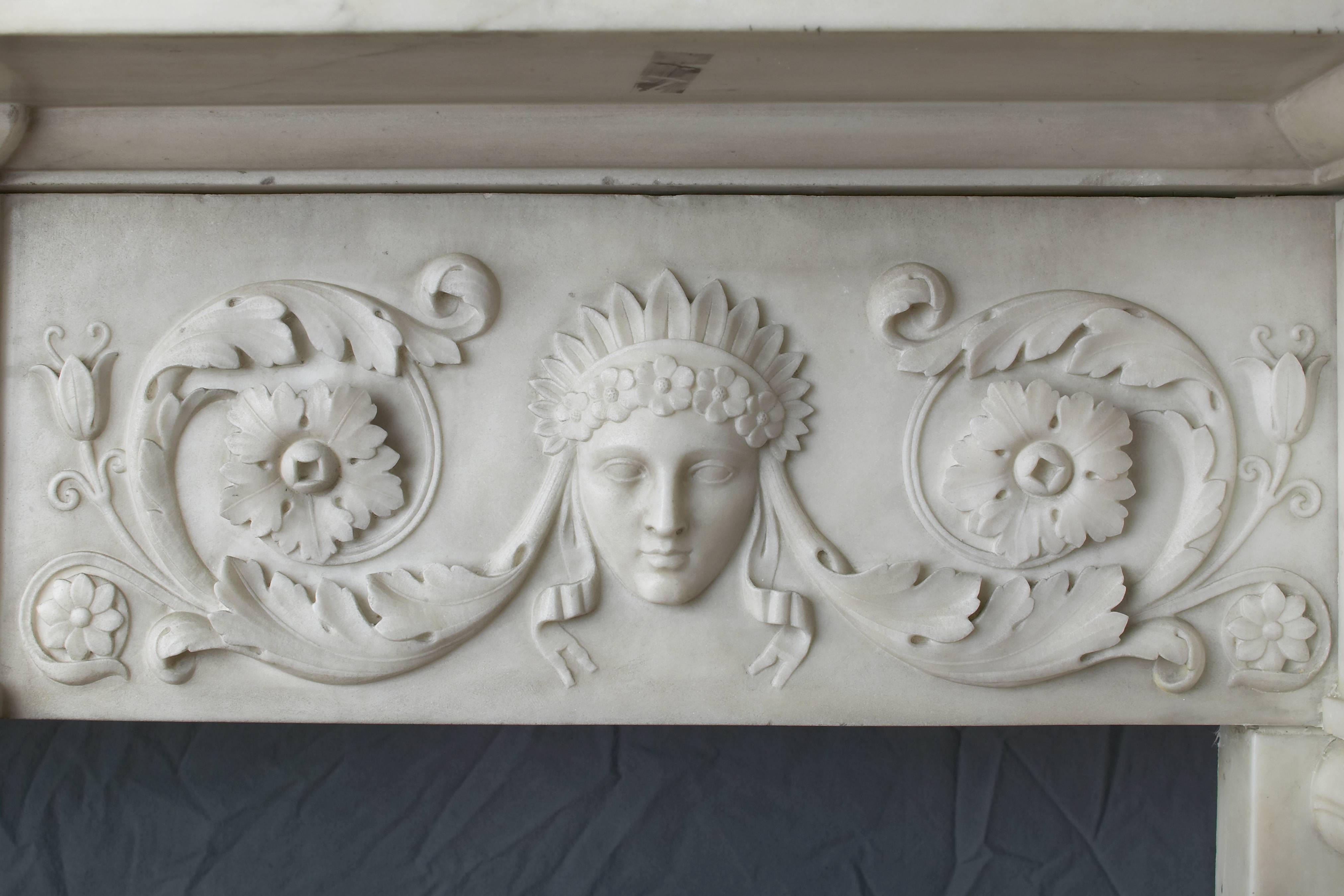 Detail from mantelpiece lintel with a carved with classical goddesses. When Pribell spotted a dust-covered mantelpiece in the basement of a client's newly purchased home, it was the start of a long relationship.