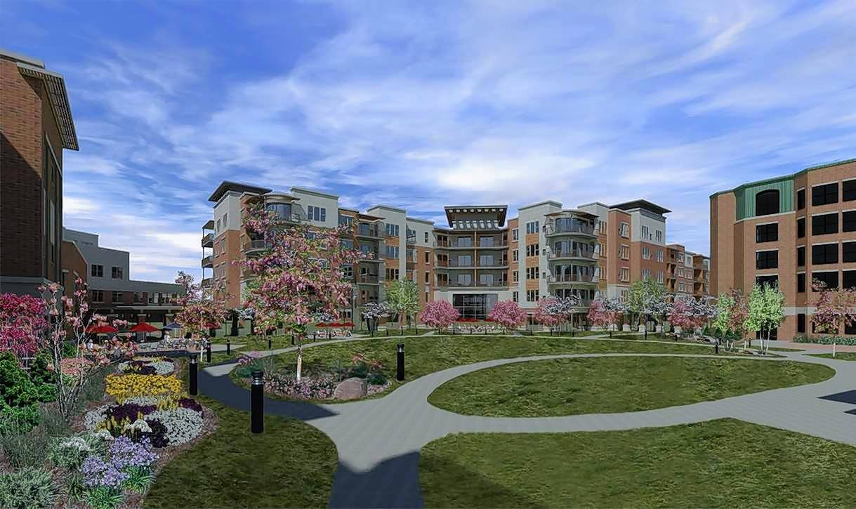 An artist's rendering shows what the Oak Trace senior living community will look like after a $150 million redevelopment project in Downers Grove.