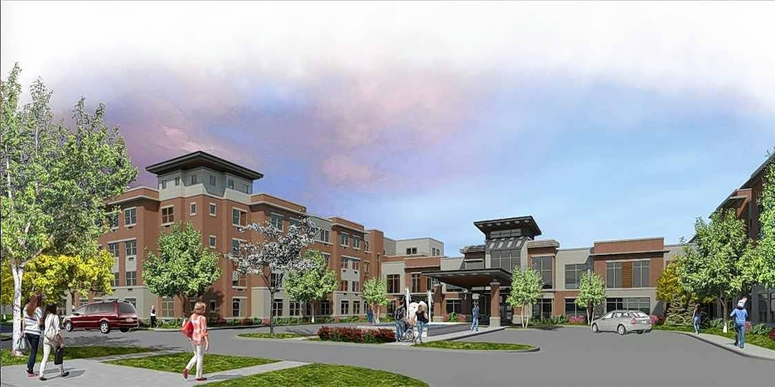 An artist's rendering of the new courtyard being constructed at Oak Trace.