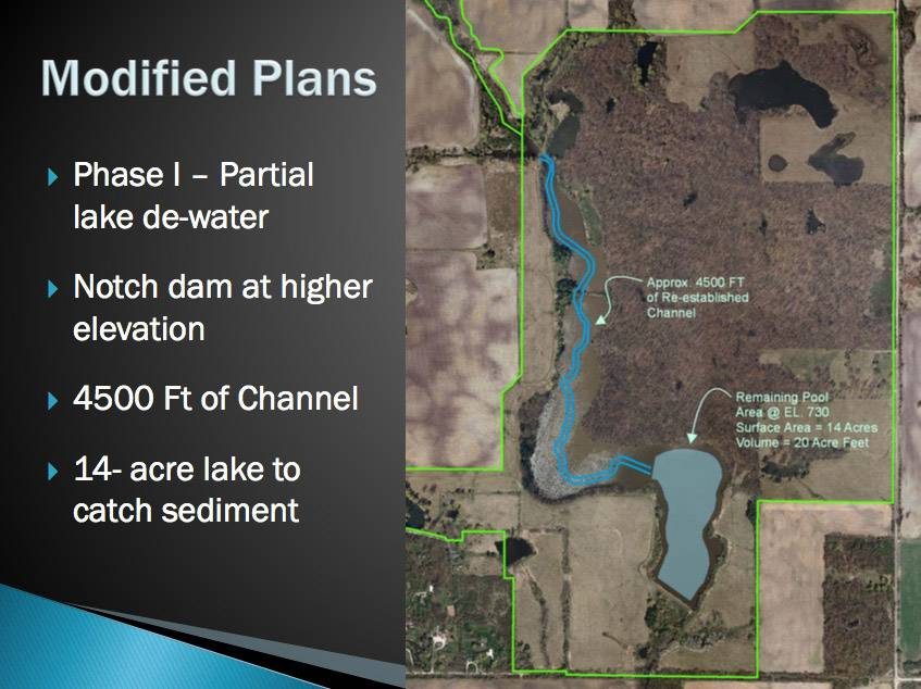 Modified plans of the North Mill Creek restoration project by the Lake County Forest Preserve District.