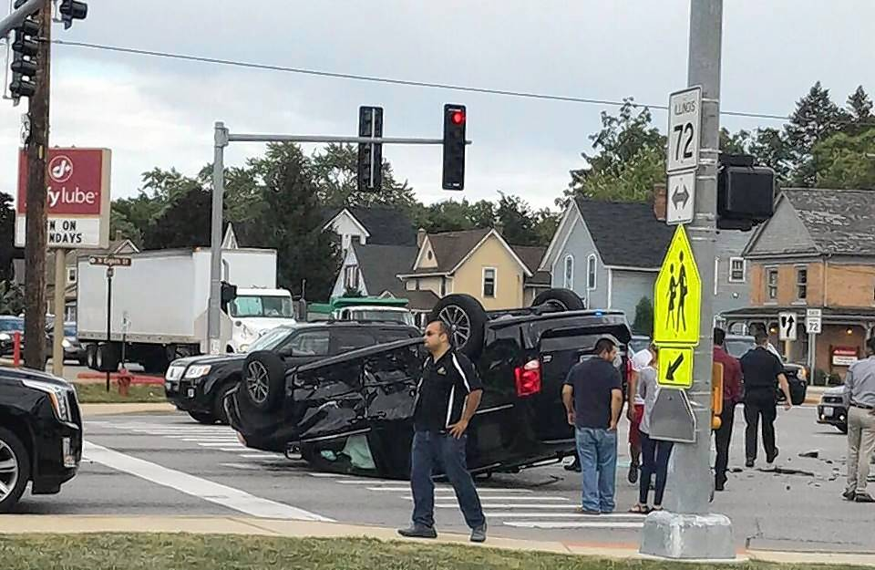 A car and an SUV collided Tuesday at the intersections of Route 31 and Route 72 in West Dundee. The SUV rolled over onto its roof.