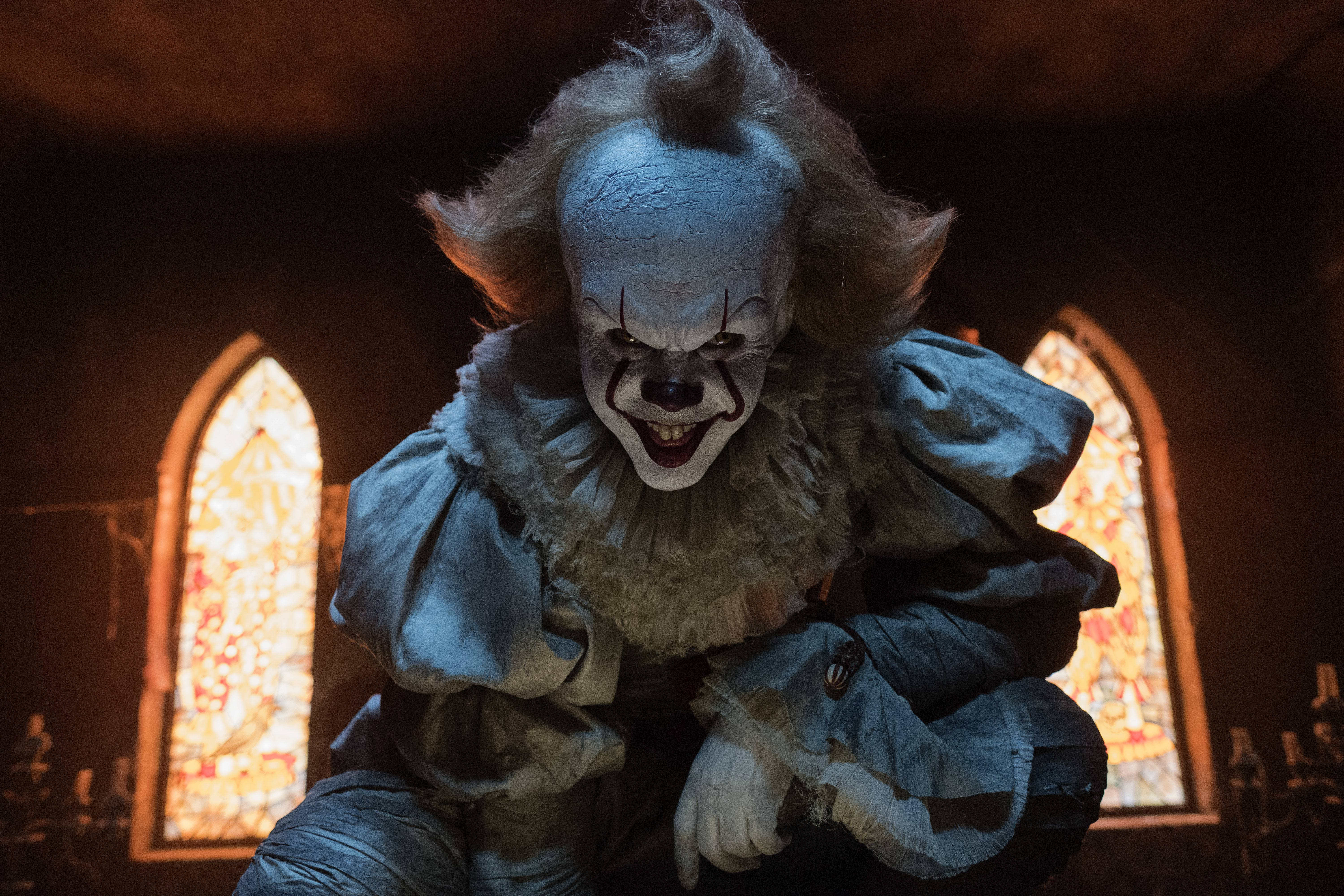 "Pennywise (Bill Skarsgard) feeds off the fears of his victims in ""IT."""