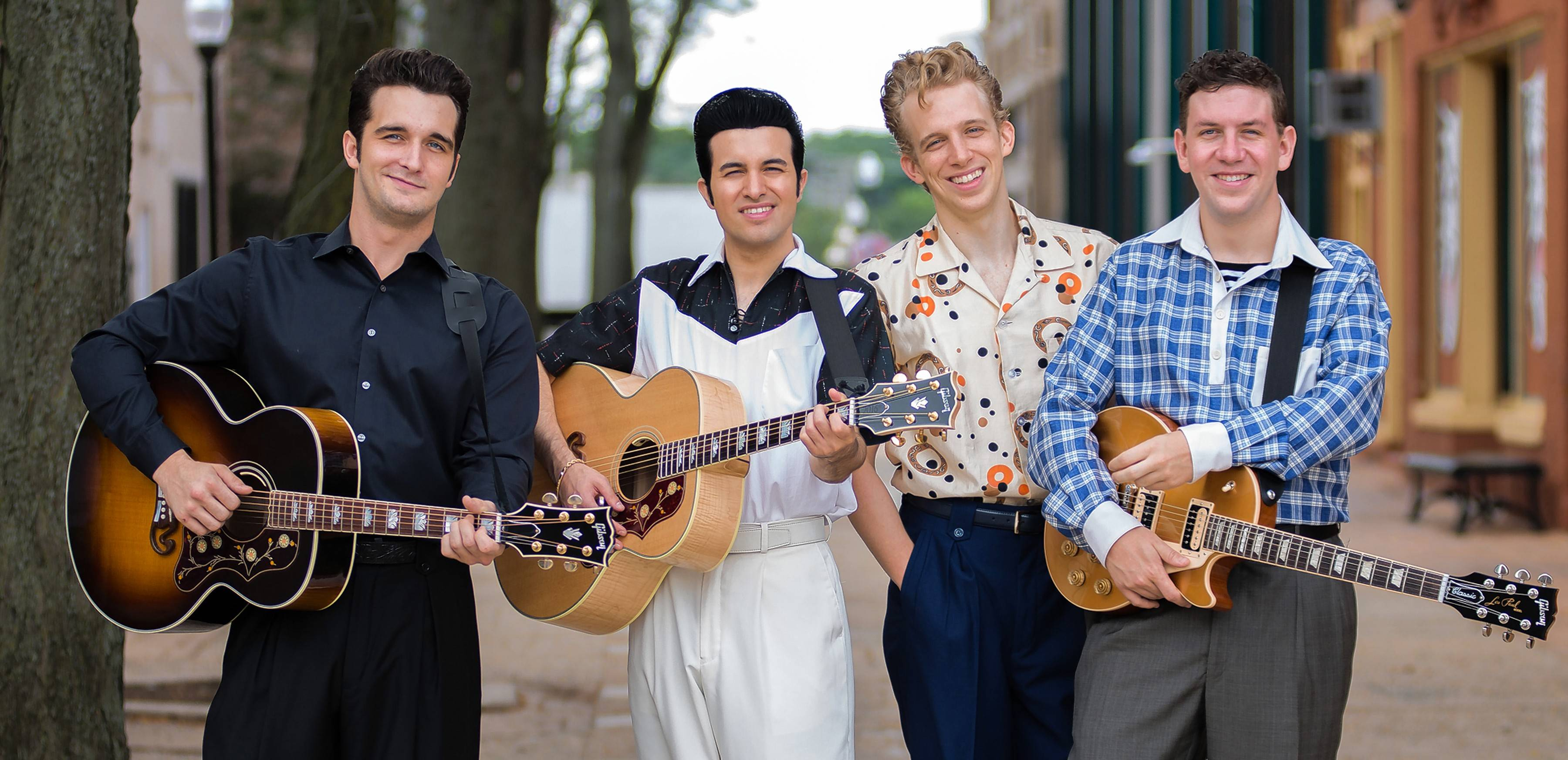 "Paramount Theatre's ""Million Dollar Quartet"" stars Bill Scott Sheets, left, as Johnny Cash, Kavan Hashemian as Elvis Presley, Gavin Rohrer as Jerry Lee Lewis and Adam Wesley Brown as Carl Perkins."