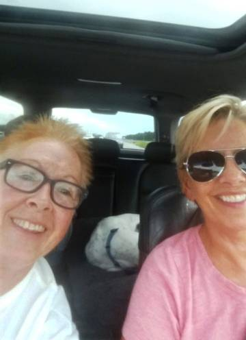 Rainy Payne, left, and Kim Becker, who recently moved from Cary to Fort Myers, Florida, drove to Tennessee Wednesday to get out of Hurricane Irma's path.