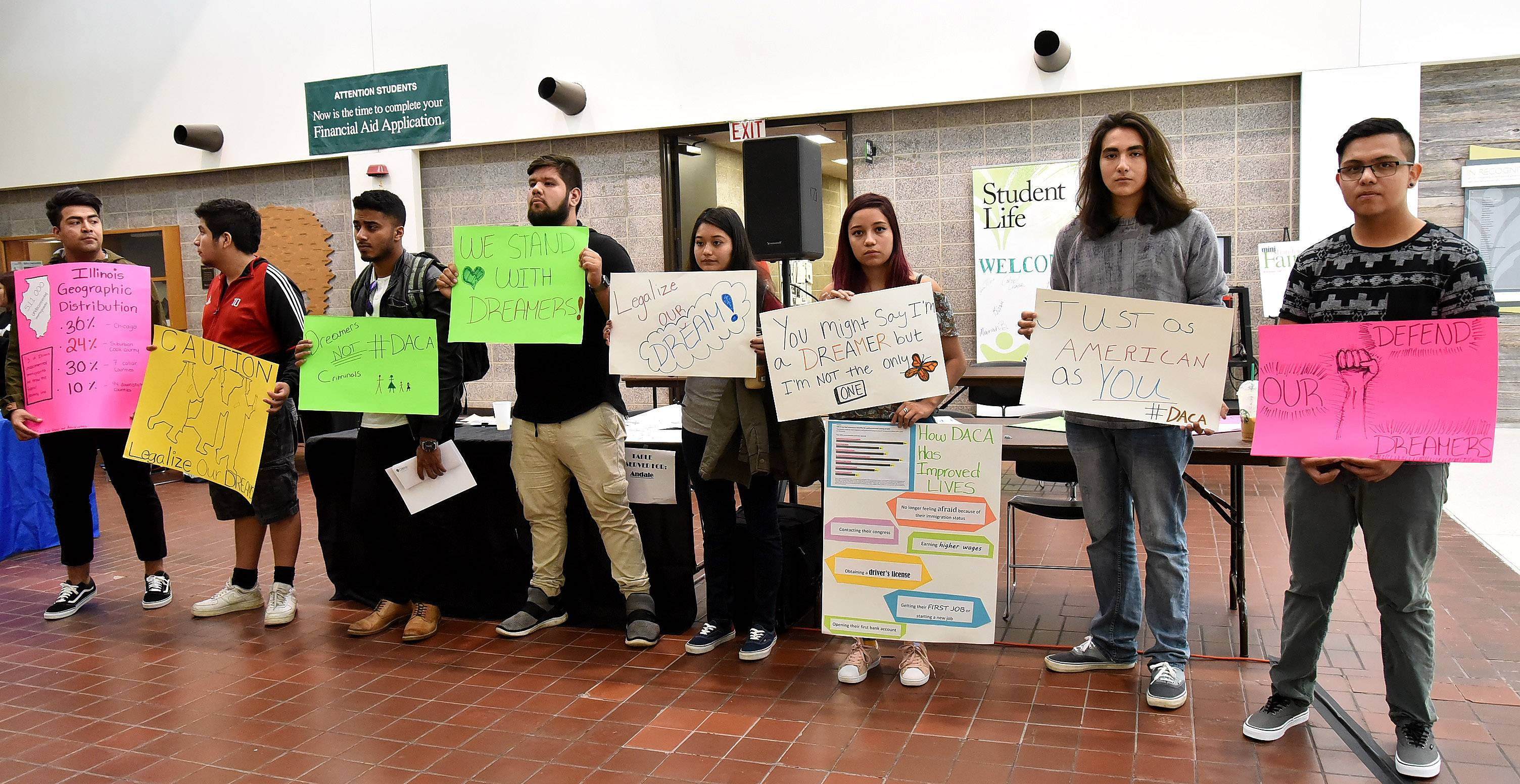 Oakton Community College students rally Wednesday in support of DACA students.