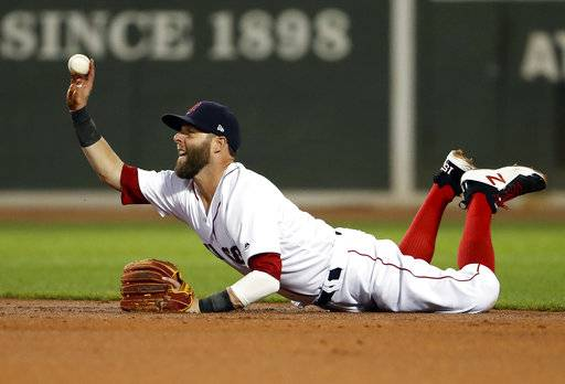 Boston Red Sox second baseman Dustin Pedroia flips the ball to Xander Bogaerts after fielding a ground ball single by Toronto Blue Jays' Darwin Barney during the second inning of a baseball game at Fenway Park in Boston, Tuesday, Sept. 5, 2017. (AP Photo/Winslow Townson)