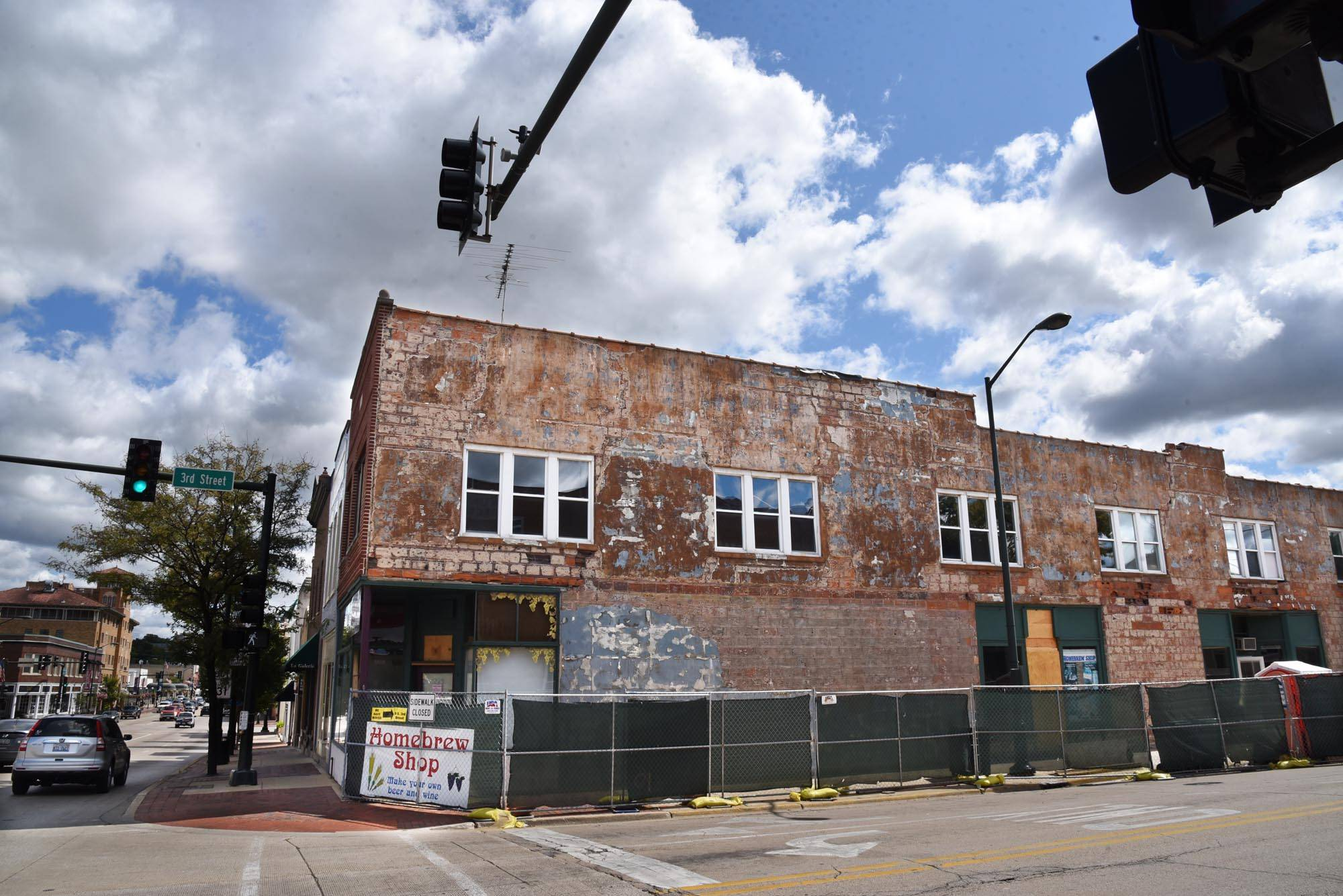 Work is being done on The Home Brew Shop at Third and Main streets in downtown St. Charles.