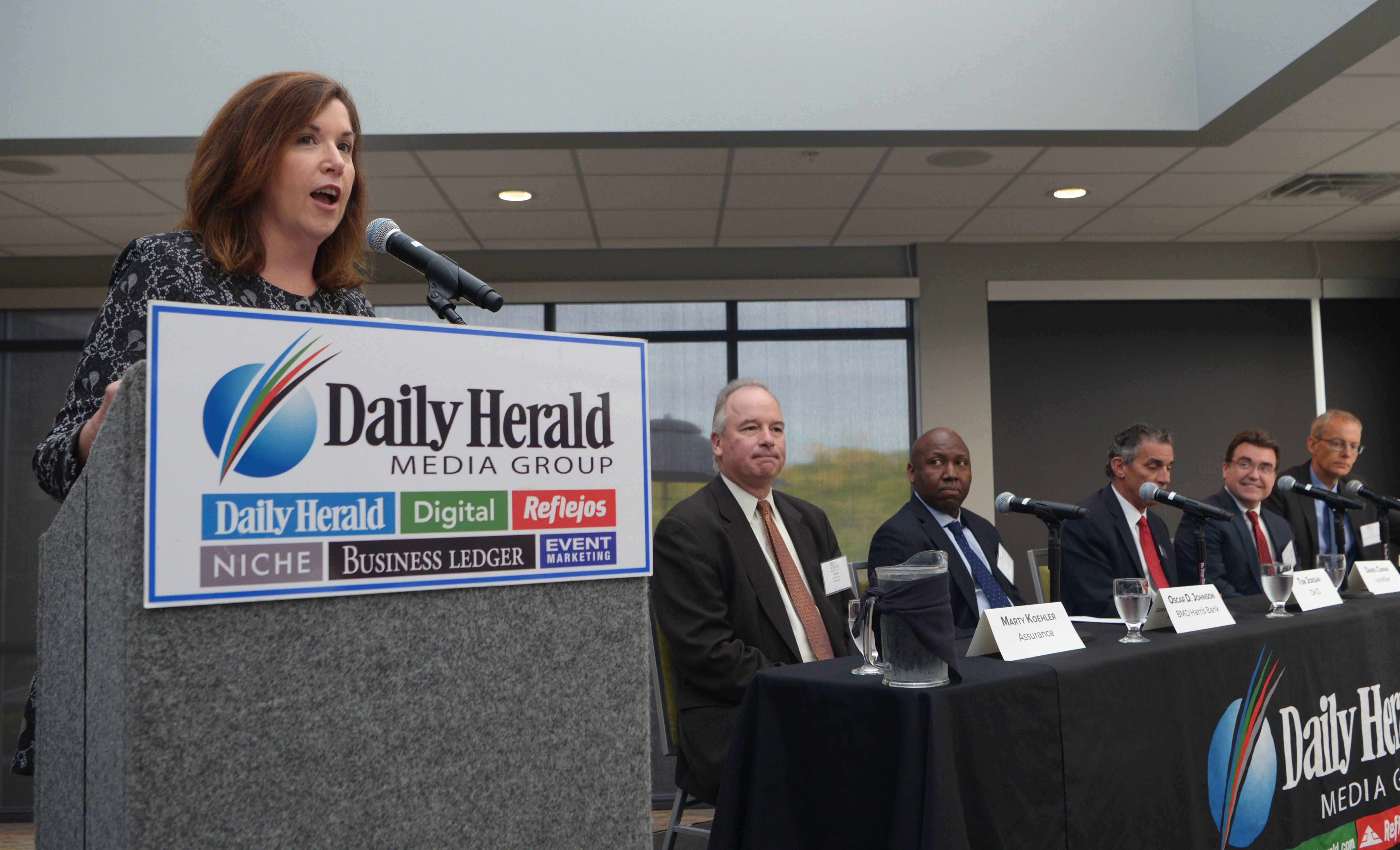 Moderator Mary Lynn Faoumi introduces panelists during the 2017 CEO Forum, hosted by the Daily Herald and Daily Herald Business Ledger at the Fairfield Inn in Schaumburg Thursday.