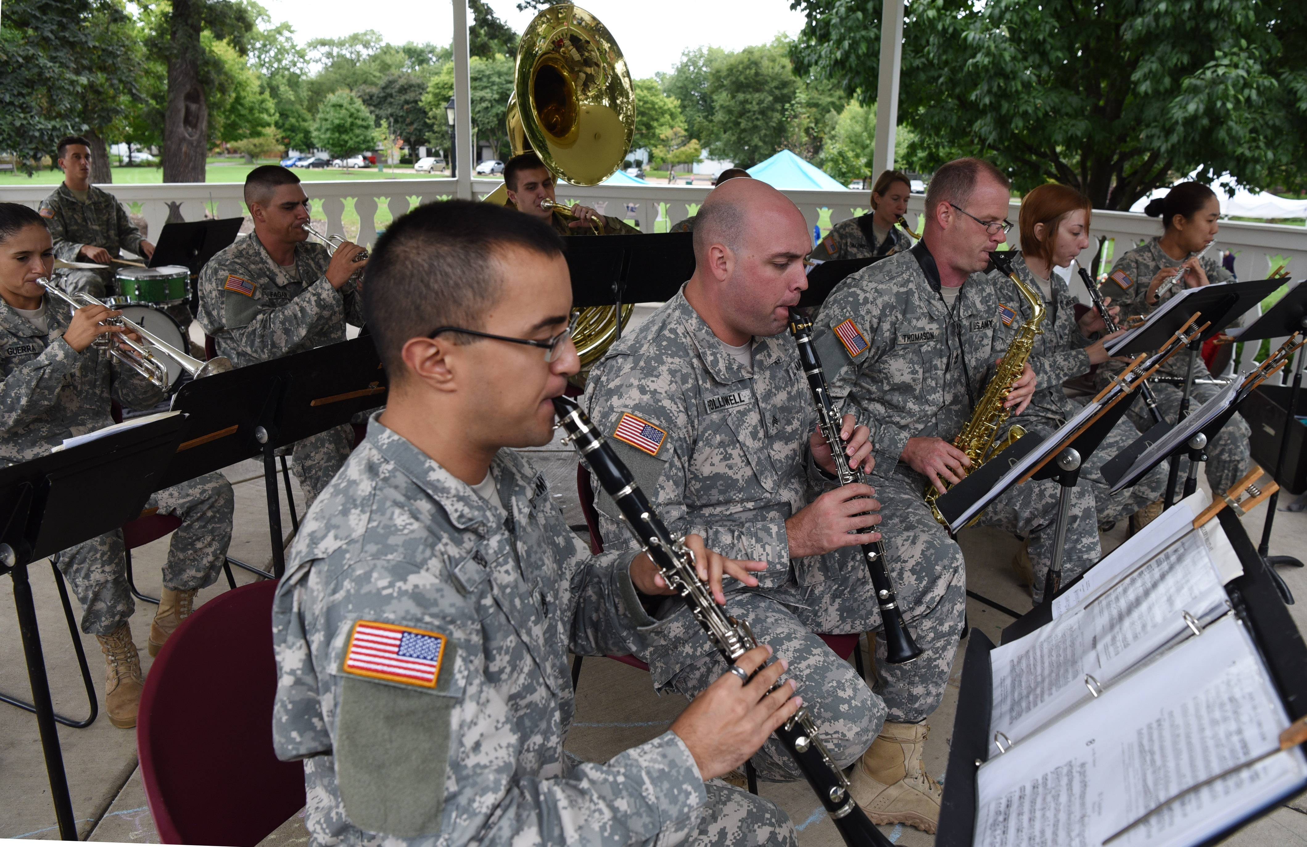 Robert Reed, front, and Jeffery Followell of the 144th Ceremonial Army Band, based in Springfield, Illinois, play clarinet during last year's Bartlett Heritage Days celebration.