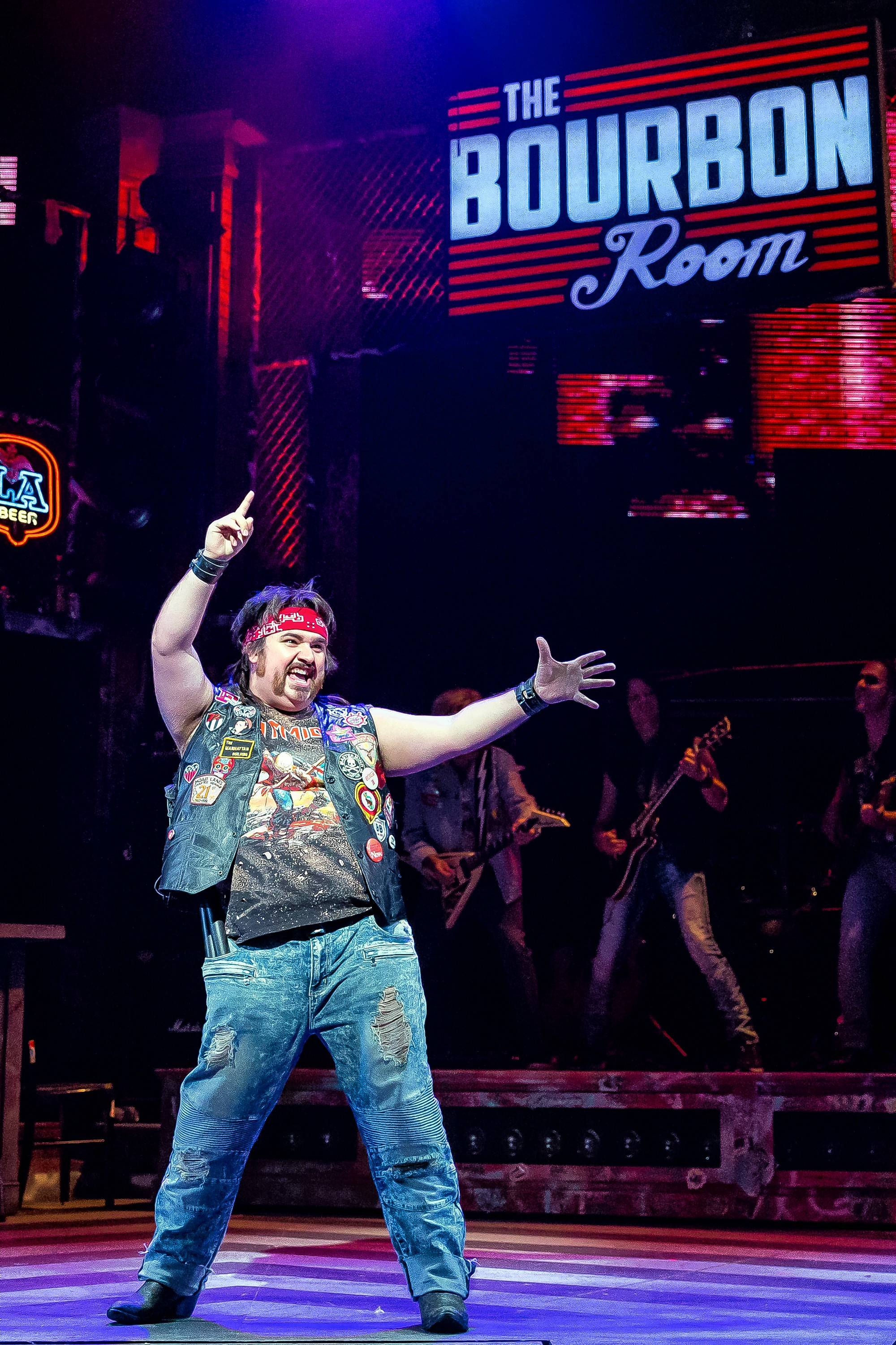 "Lonny (Nick Druzbanski) is the mischievous narrator/sound guy of ""Rock of Ages"" at Drury Lane Theatre in Oakbrook Terrace."