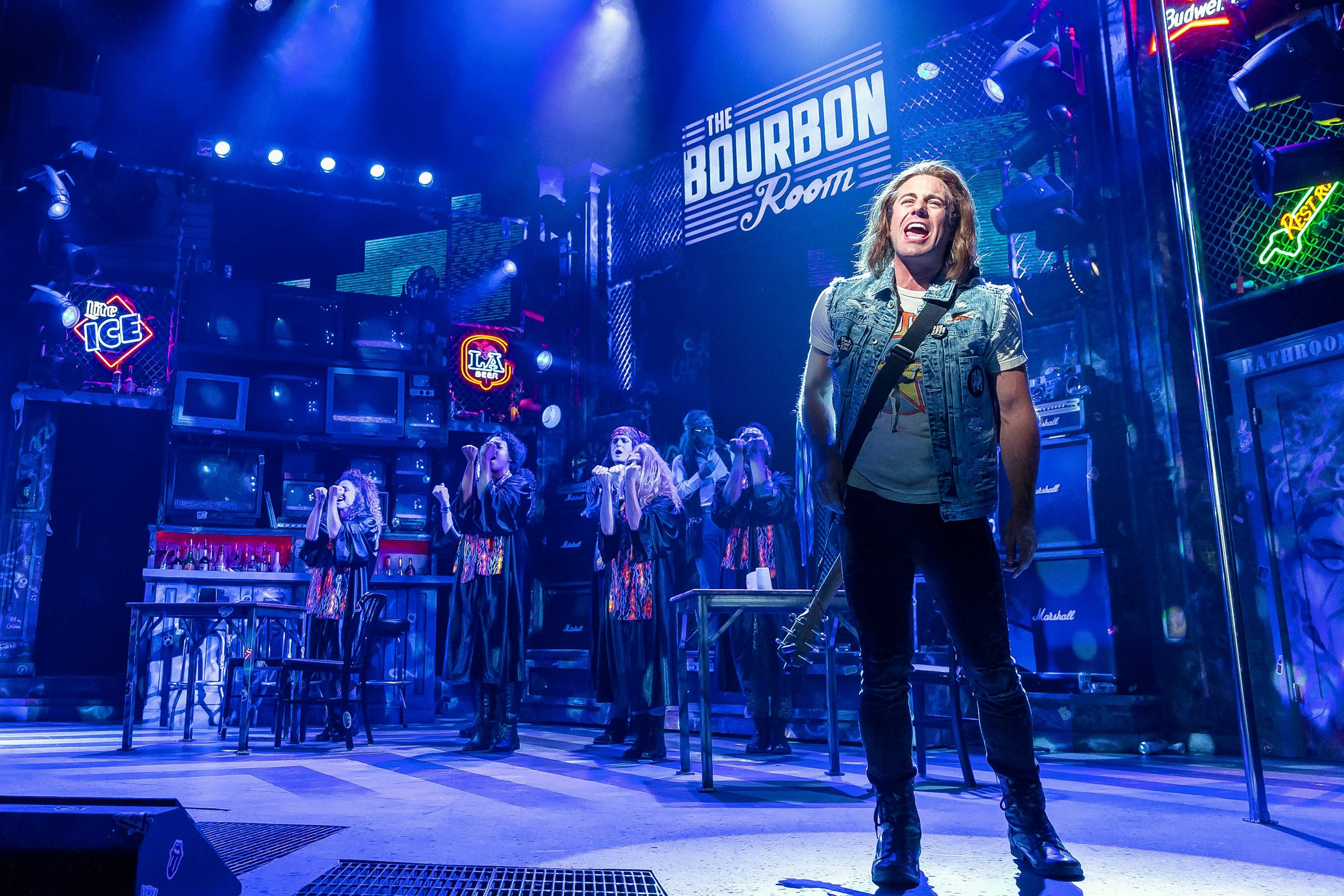 "Drew (Russell Mernagh) has ambitions to be a rock star in ""Rock of Ages"" at Drury Lane Theatre in Oakbrook Terrace."