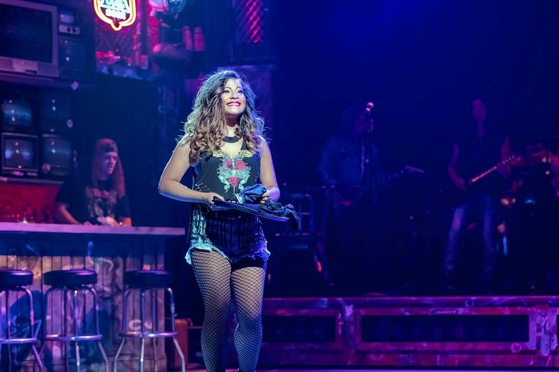 """Sherrie (Cherry Torres) gets a job working at The Bourbon Room in """"Rock of Ages"""" at Drury Lane Theatre in Oakbrook Terrace."""
