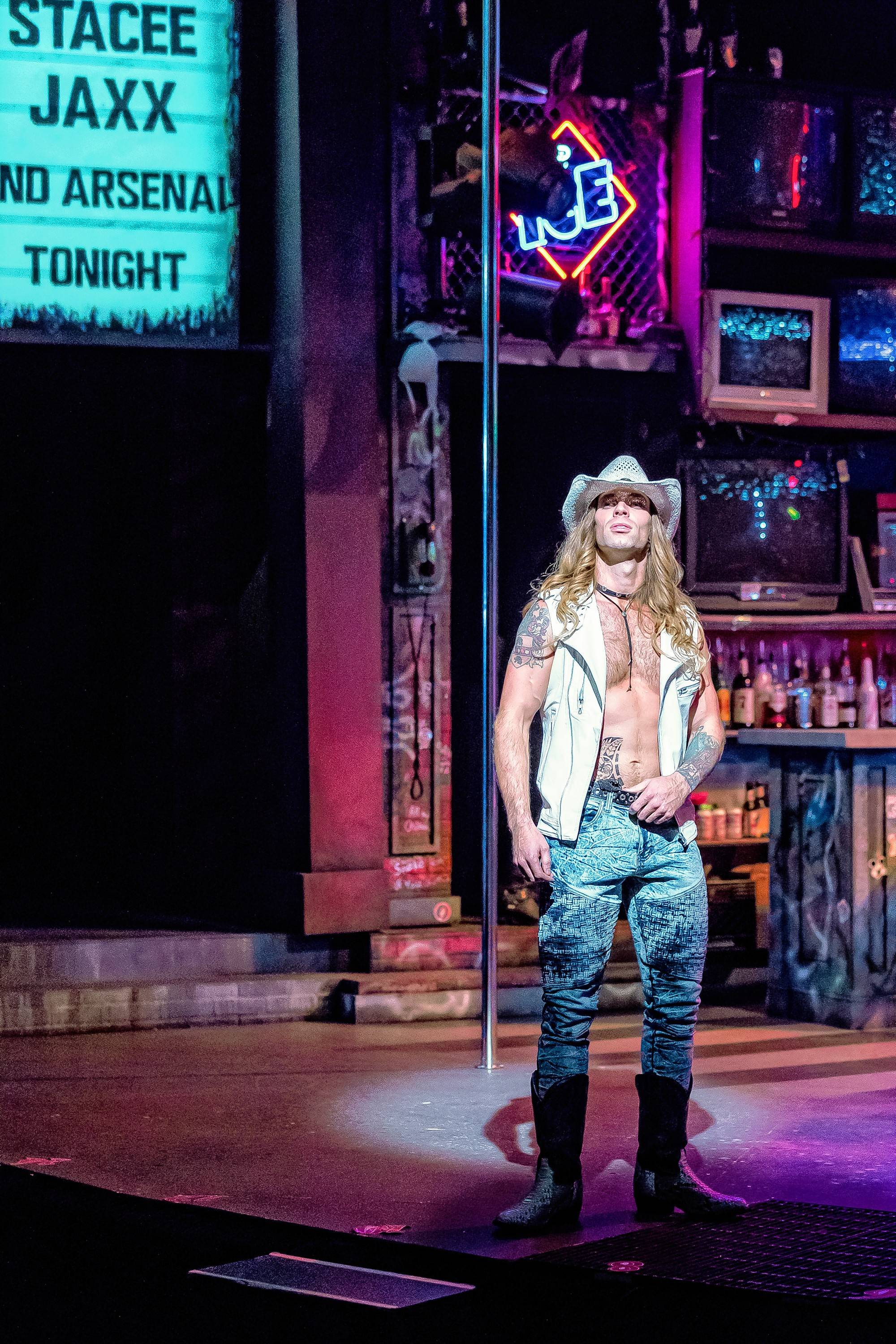 "Heavy metal rock star Stacee Jaxx (Adam Michaels) wreaks havoc when he decides to go solo from his band, Arsenal, in ""Rock of Ages"" at Drury Lane Theatre in Oakbrook Terrace."