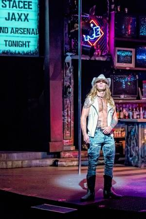 """Heavy metal rock star Stacee Jaxx (Adam Michaels) wreaks havoc when he decides to go solo from his band, Arsenal, in """"Rock of Ages"""" at Drury Lane Theatre in Oakbrook Terrace."""