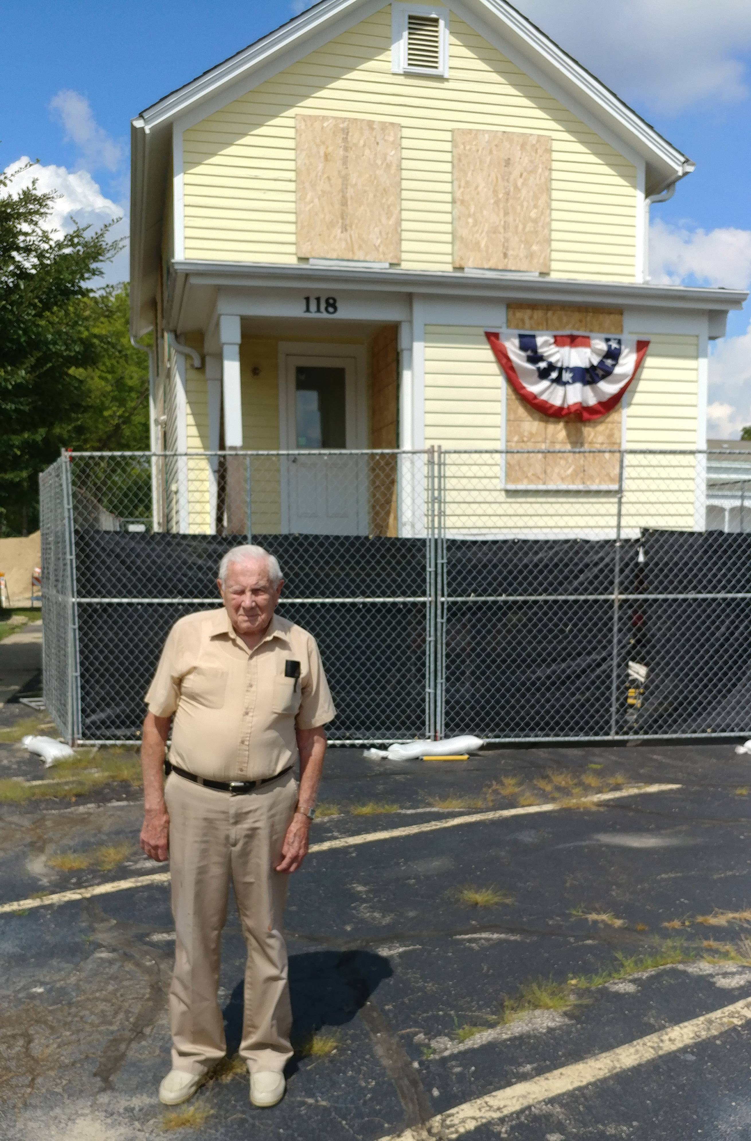 Mel Schroeder, 94, lived in this house at 118 Wool St. in Barrington from when he was 10 days old until he got married in 1946. He'll watch it being moved to Barrington Hills on Sunday. He recently went to see the house in a temporary spot before the move, across the street from where he lived at 118 Wool.