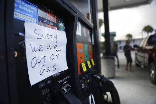 A note is posted to a gas pump after the station ran out of gas ahead of Hurricane Irma in Daytona Beach, Fla., Friday, Sept. 8, 2017. Coastal residents around South Florida have been ordered to evacuate as the killer storm closes in on the peninsula for what could be a catastrophic blow this weekend.