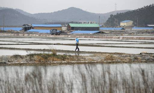 FILE - In this April 3, 2014 file photo, a man walks through a salt farm on Sinui Island, South Korea. A court has ruled on Friday, Sept. 8, 2017 that the South Korean government must pay 37 million won ($33,000) to a man who'd been held as a slave on the salt farm for several years and was stopped from escaping by police. (AP Photo/Lee Jin-man, File)