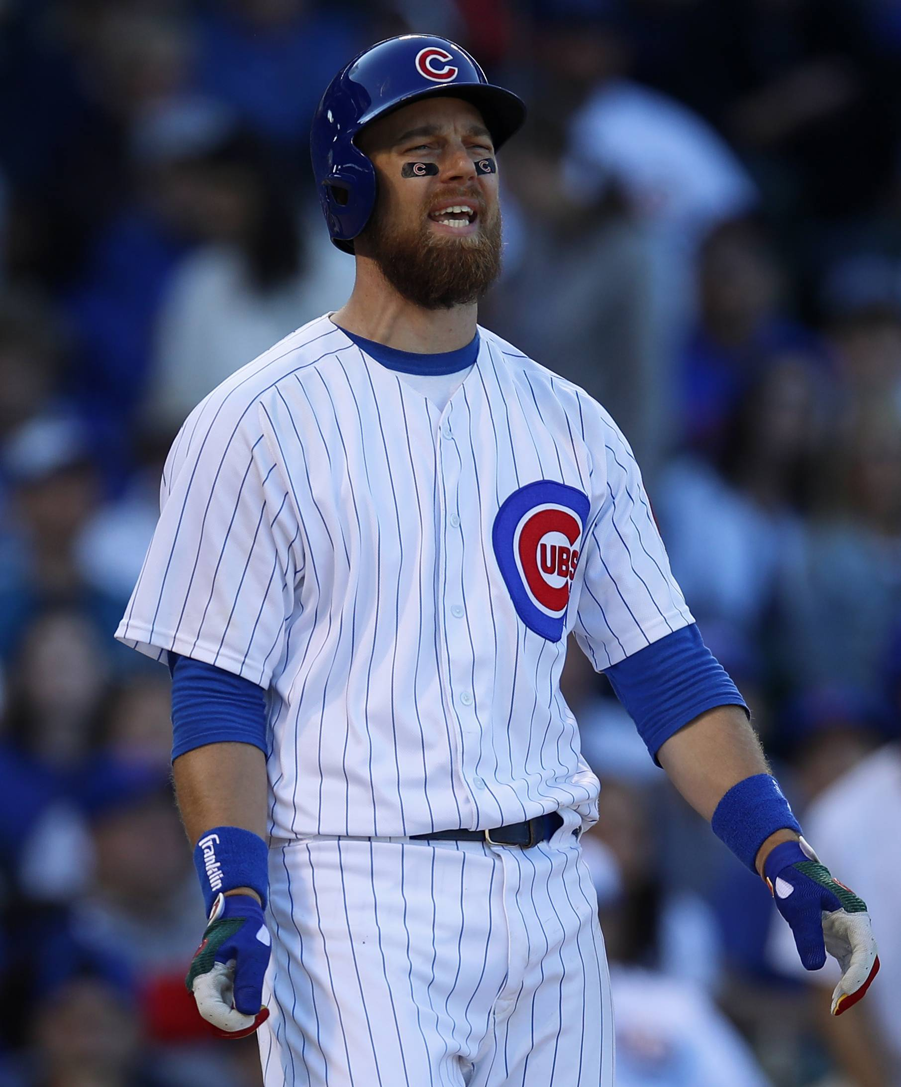 Chicago Cubs' Ben Zobrist reacts after a called strike Saturday during the fourth inning against the Milwaukee Brewers in Chicago.