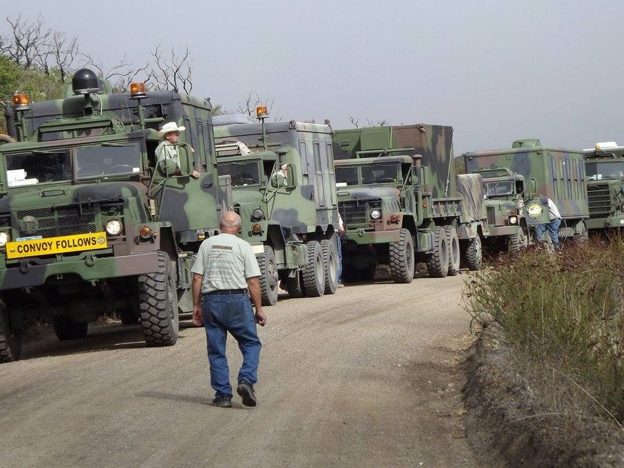 A procession of military vehicles will depart from the DuPage County Fairgrounds next Saturday for a cross-country convoy on Route 66. In 2015, the group of collectors made a similar trek on the Bankhead Highway, shown here.