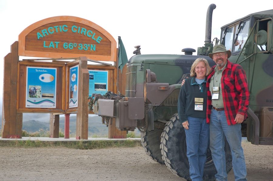 "Brad Nelson, with his wife Nancy on a convoy along the Alaska Highway in 2012, is organizing the Illinois-to-Missouri leg of the Route 66 journey. ""As we say, that's the way to see America,"" said Nelson, who grew up in Rock Island, Illinois."