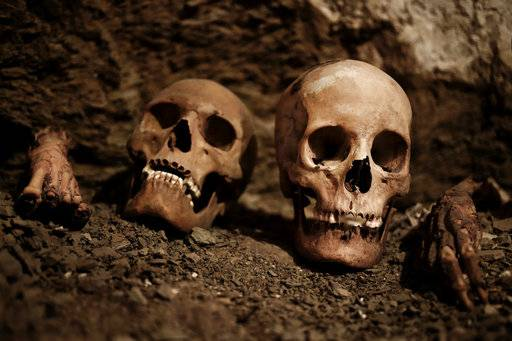 Skulls found in the New Kingdom tomb that belongs to a royal goldsmith are seen in a burial shaft, in Luxor, Egypt, Saturday, Sept. 9, 2017. Egypt has announced the discovery in the southern city of Luxor of a pharaonic tomb belonging to a royal goldsmith who lived more than 3,500 years ago during the reign of the 18th dynasty. (AP Photo/Nariman El-Mofty)