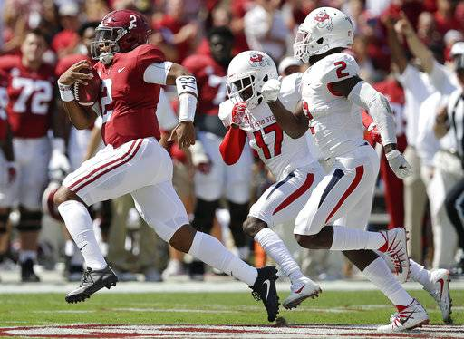 Alabama quarterback Jalen Hurts runs in for a touchdown in the first half of an NCAA college football game against Fresno State, Saturday, Sept. 9, 2017, in Tuscaloosa, Ala. (AP Photo/Brynn Anderson)