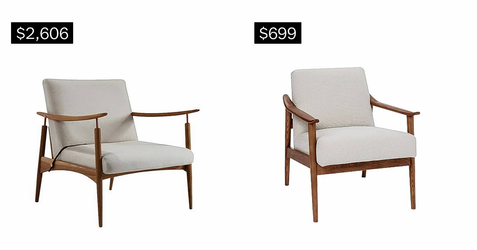 SPLURGE: Natalie chair, left. SAVE: Midcentury show wood chair in chunky basket weave.