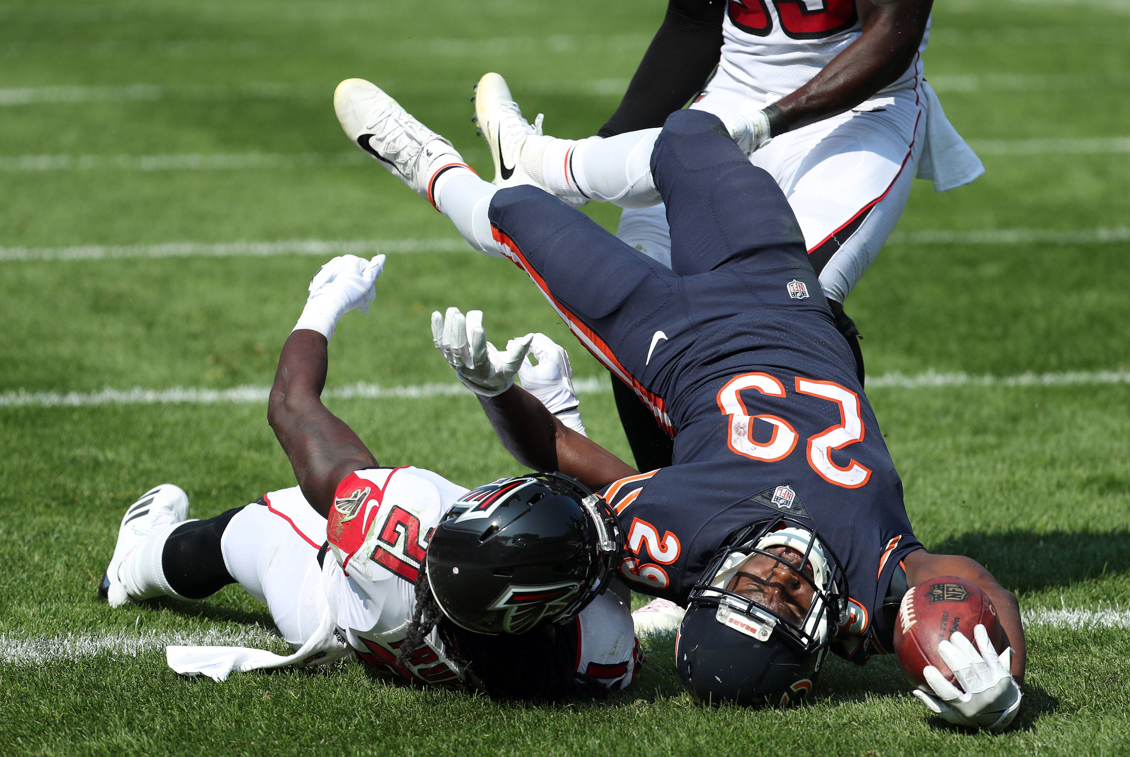 Chicago Bears running back Tarik Cohen stretches in to the end zone during their game Sunday, September 10, 2017 at Soldier Field in Chicago.