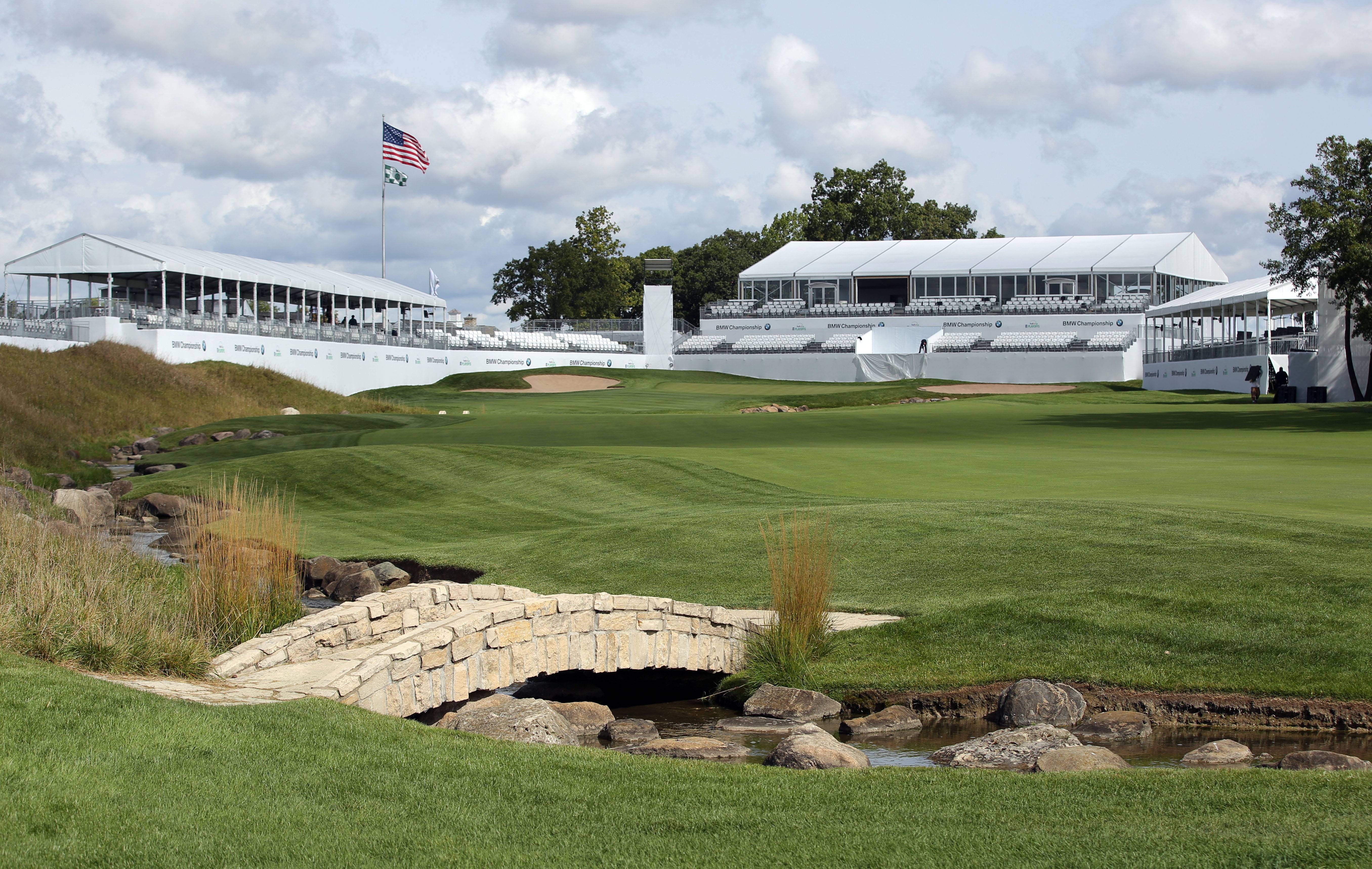 The tents are up on the 18th hole as preparations continue for the BMW Championship, which will be played for the third -- and possibly final -- time at Conway Farms in Lake Forest this week.