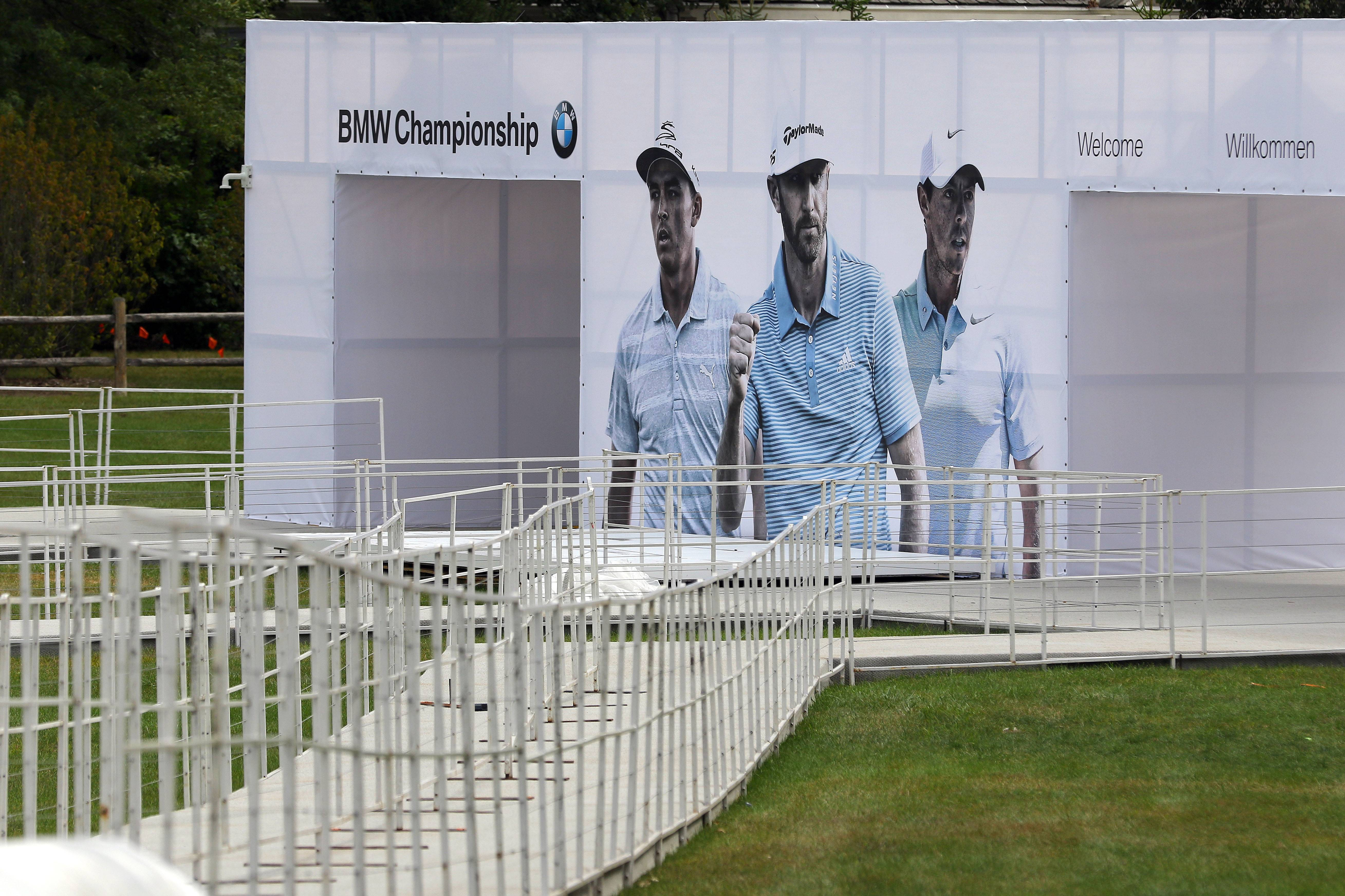The entrance for The BMW Championship golf tournament is ready to go at Conway Farms in Lake Forest. Tournament play begins Thursday.