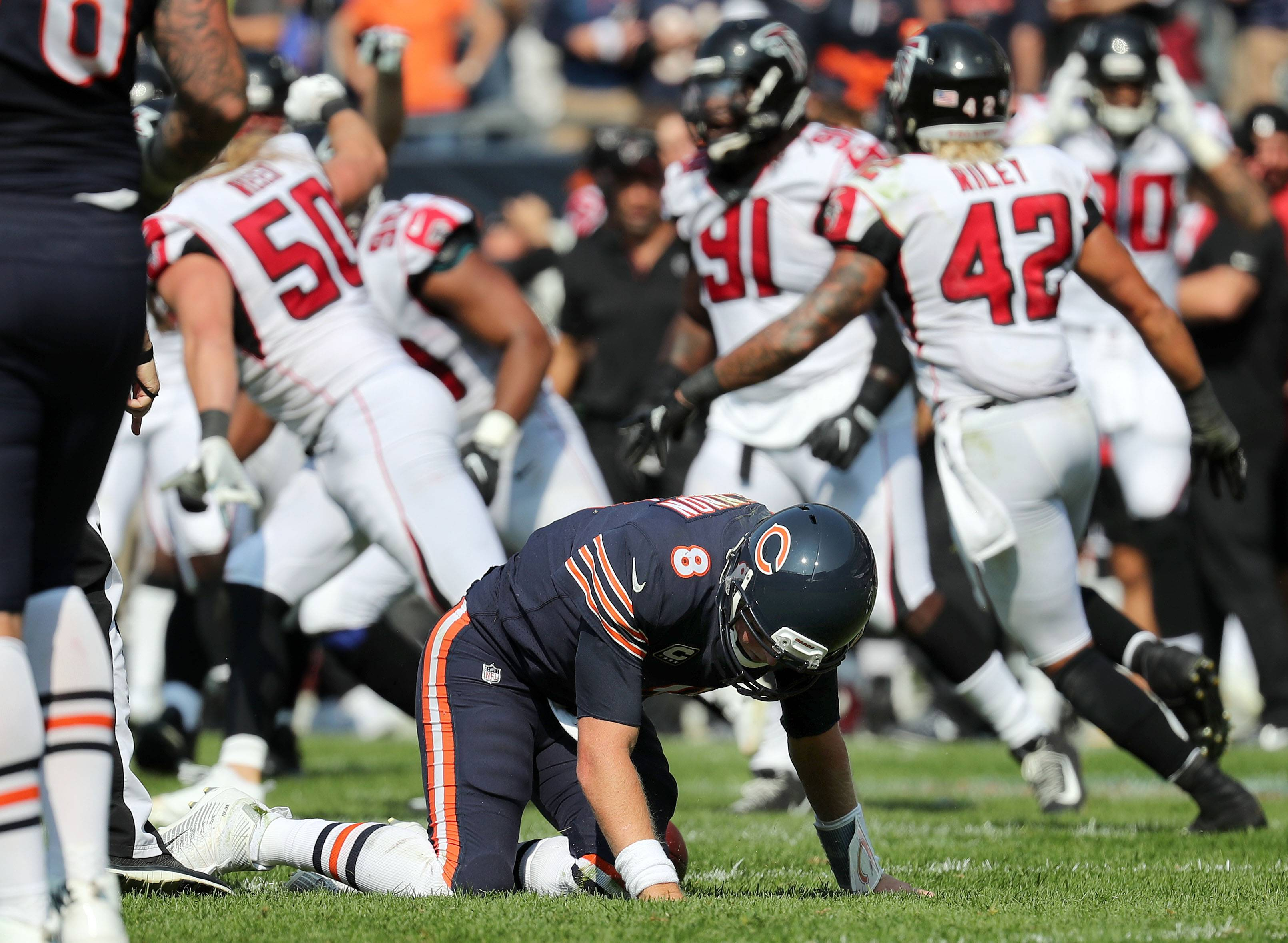 Steve Lundy/slundy@dailyherald.com Chicago Bears quarterback Mike Glennon reacts after getting sacked to end the game during their game against the Atlanta Falcons Sunday, September 10, 2017 at Soldier Field on Chicago.