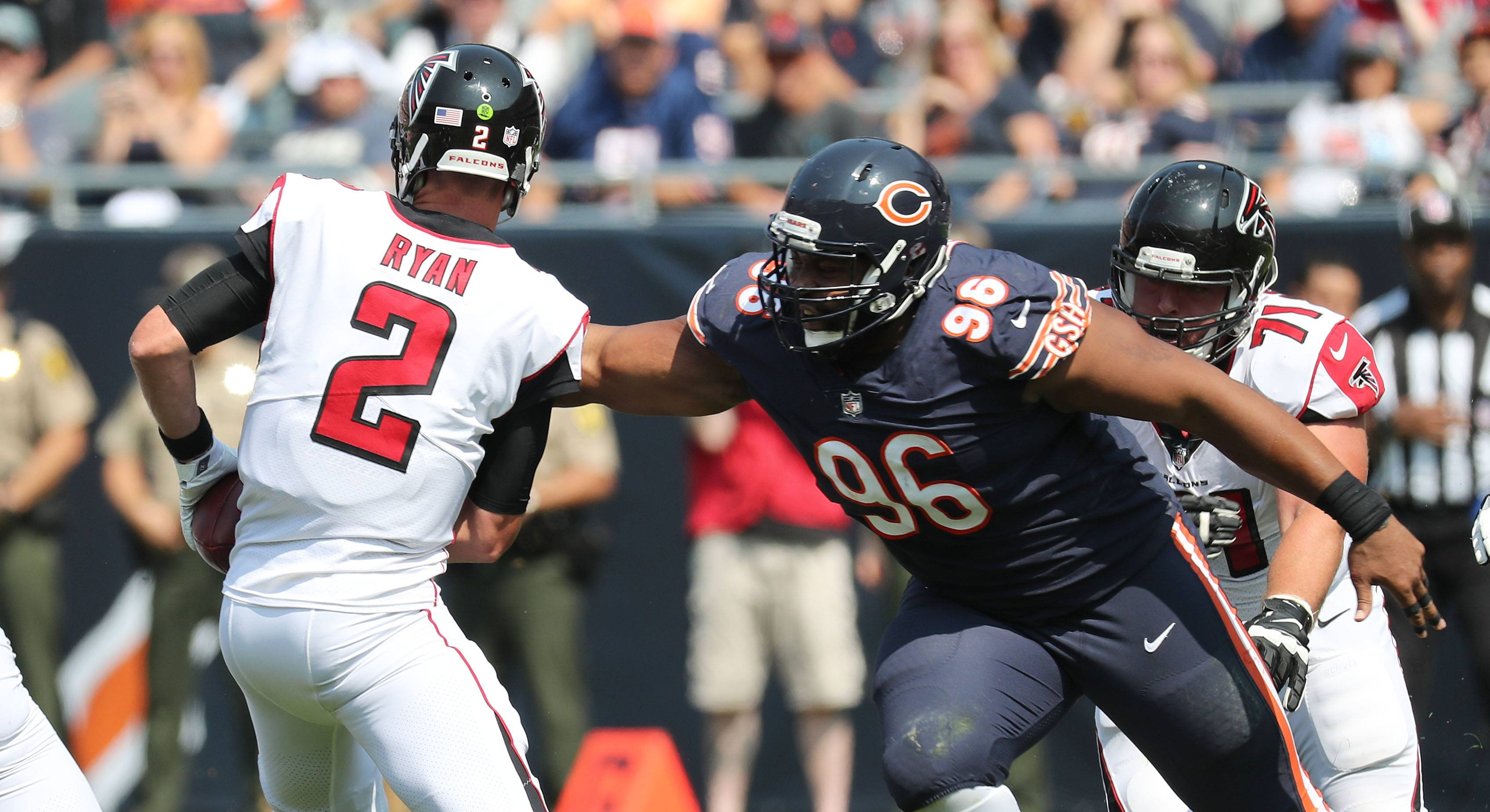 Chicago Bears defensive end Akiem Hicks sacks Atlanta Falcons quarterback Matt Ryan during Sunday's game at Soldier Field in Chicago.