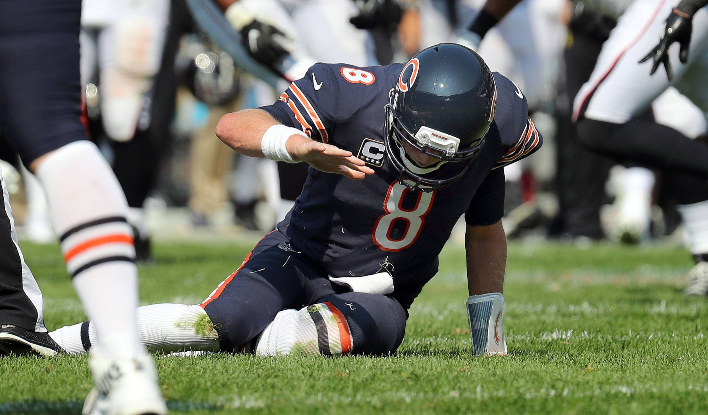 Chicago Bears quarterback Mike Glennon slaps the ground after getting sacked to end the game during their game against the Atlanta Falcons Sunday, September 10, 2017 at Soldier Field on Chicago.