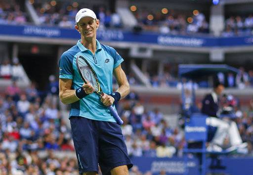 Kevin Anderson, of South Africa, reacts after giving up a point to Rafael Nadal, of Spain, during the men's singles final of the U.S. Open tennis tournament, Sunday, Sept. 10, 2017, in New York. (AP Photo/Andres Kudacki)