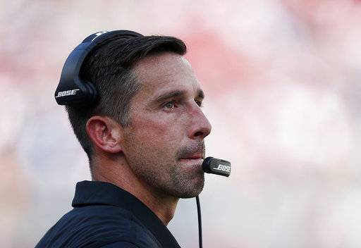 San Francisco 49ers head coach Kyle Shanahan watches the second half of an NFL football game against the Carolina Panthers in Santa Clara, Calif., Sunday, Sept. 10, 2017. (AP Photo/Tony Avelar)