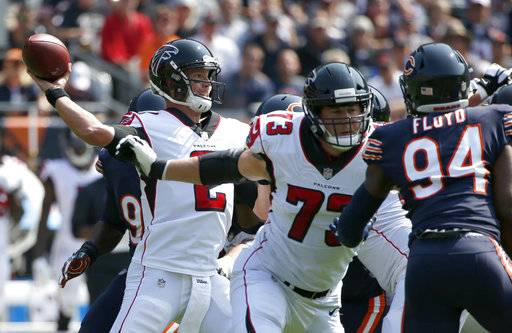 Atlanta Falcons quarterback Matt Ryan (2) throws a pass during the first half of an NFL football game against the Chicago Bears, Sunday, Sept. 10, 2017, in Chicago. (AP Photo/Nam Y. Huh)