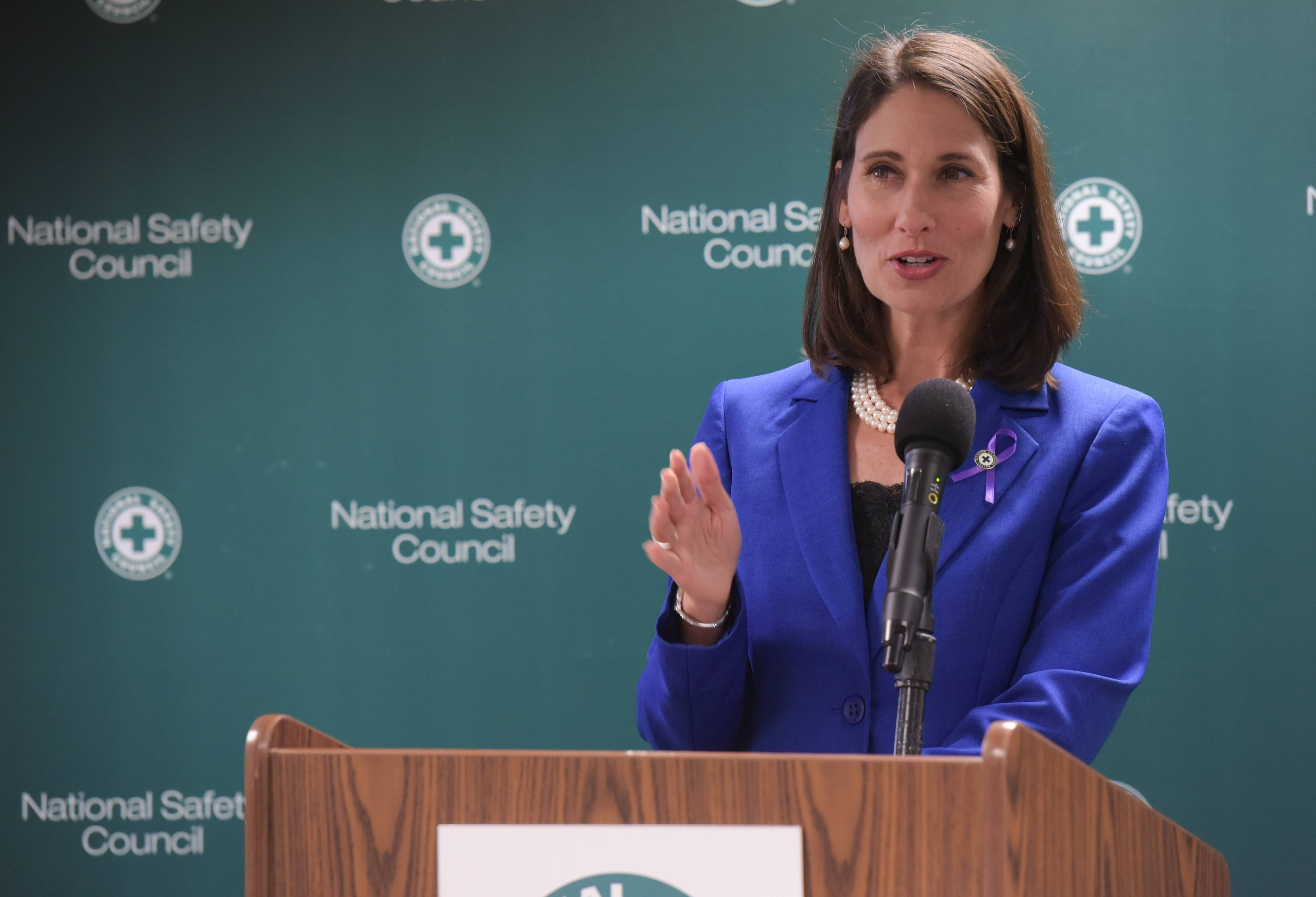 Deborah Hersman, president and CEO of The National Safety Council, unveils statewide poll results Aug. 31 about opioid abuse and overdoses.