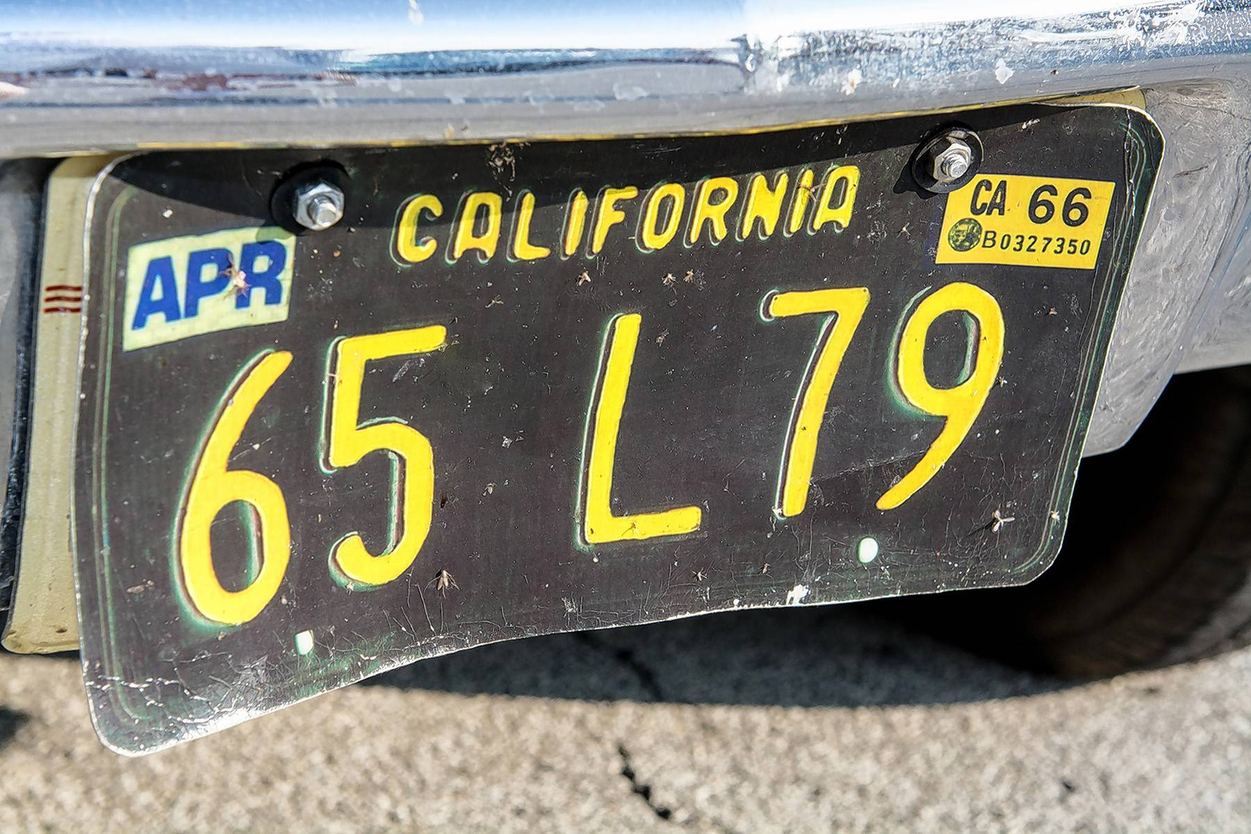 Because the Chevy was purchased in California, Holland likes it to wear these California plates.